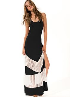 Racer back maxi dress with a thigh-high slit and beautiful white crochet lace inserts by L Space Swimwear @Rosewood Boutique