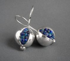 Pomegranate Earrings  silver and blue by Artesserae on Etsy