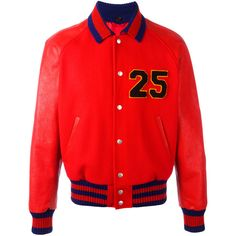 Gucci Web collar bomber jacket (349835 RSD) ❤ liked on Polyvore featuring men's fashion, men's clothing, men's outerwear, men's jackets, gucci, red, gucci mens jacket, mens red bomber jacket, men's embroidered bomber jacket and mens retro jackets