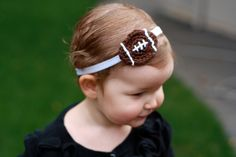 Crochet Football Baby Girl Headband...my girl needs this to wear to her daddy's games!