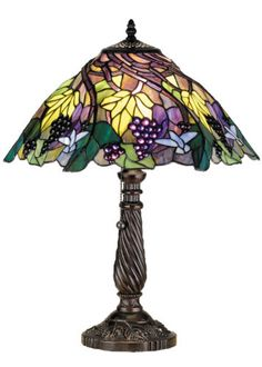 """Meyda Tiffany Style Spiral Jeweled Grape 22""""H Stained Glass Table Lamp 82303 