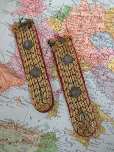Vintage 2 German WWII Sewn In Shoulder Boards With 2 Pips WW2. #German #shoulder #boards #sewn #WW2 #WWII