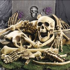 28 pieces skeleton bones set for Halloween decoration. Suitable for Halloween party of haunted house or outdoor yard use. Create a creepy, spooky atmosphere as indoor prop decor. Imitate the ratio of human bones Halloween Prop, Halloween Skeleton Decorations, Haunted House Decorations, Halloween Wishes, Halloween Graveyard, Halloween Bags, Outdoor Halloween, Halloween Skull, Halloween Party Decor
