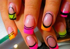 flourescent Color French Tip -  Day Glow French Tip - 50 Amazing Acrylic Nail Art Designs Ideas