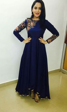 Bright and colourful, this Dark Blue Silk Anarkali Gown which will instantly catch your fancy. This Round neck and Full Sleeves apparel adorned with resham, zari and stone work. Salwar Designs, Kurta Designs Women, Indian Designer Outfits, Indian Outfits, Designer Dresses, Mehendi Outfits, Designer Clothing, Indian Gowns Dresses, Pakistani Dresses