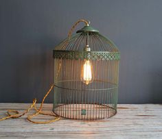 Antique Birdcage Light #DIY