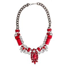 $28.00!!! Go for glam this holidayseason with our affordablestatement style that looks like a vintage gem! Deep red resinstones and clear acrylic crystal rhinestones adorn this hematite curb link chain necklace. Approx 17