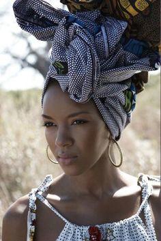 African hair wrap - for when those dreads desire to be locked away African Hair Wrap, African Head Wraps, African Beauty, African Women, African Fashion, Nigerian Fashion, Ghanaian Fashion, My Black Is Beautiful, Beautiful People