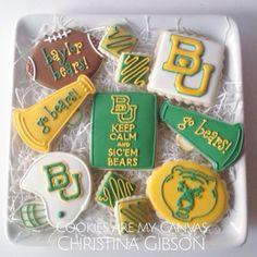 Baylor Bears; Baylor cookies; football cookies; sic em bears; Cookies Are My Canvas