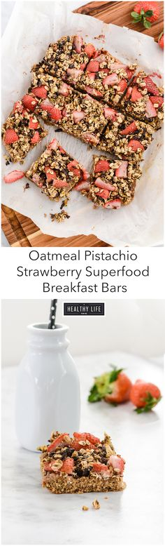 Oatmeal Pistachio Strawberry Breakfast Bars are nutritious, high in protein. Loaded with healthy whole grains, healthy fat, omega-3's, potassium, magnesium and loads of protein make them super nutritious and a balanced macro breakfast. - A Healthy Life For Me