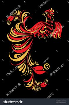Find Hohloma Bird Illustration Traditional Russian Art stock images in HD and millions of other royalty-free stock photos, illustrations and vectors in the Shutterstock collection. Russian Folk Art, Ukrainian Art, Folk Art Flowers, Flower Art, Tole Painting, Fabric Painting, Russian Embroidery, Russian Painting, Bird Illustration