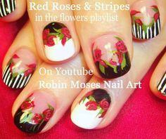 """Rose Nails"" ""Roses Nail Art"" ""Dark flower nails"" ""Red Rose nails"" roses dark flower floral black and white red rose stripes design"
