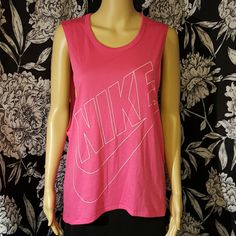 """NWT pink nike muscle tank Nwt pink muscle tank with white """"nike"""" & swoop logo on front.  Bundle to save an extra 10%. No trades. Nike Tops Muscle Tees"""