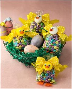 Easter Chick M treat bags.  I think I would use yellow pom poms or you could make bunnies with white pom poms, felt ears and a pom pom tail hot glued on the back of the bag.