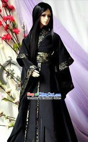 Traditional Ancient Black Cosplay Swordsman Costumes for Men