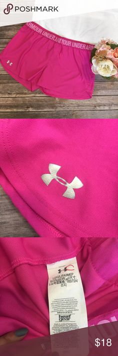 Under Armour | Pink Athletic Shorts Size L Excellent used condition! The draw string on the right side is stuck inside of the waistband from being in the wash. Other than that, the shorts are in great condition! No holes or stains. Under Armour Shorts