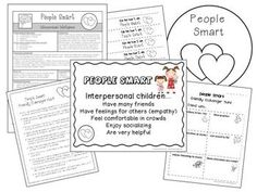 "Teaching Multiple Intelligences with K-2 students.  Each ""smart"" includes overview sheet, poster, lessons, printables, and tips for integrating with Daily 5 / Responsive classroom."