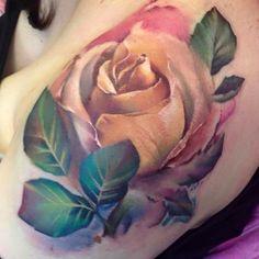 Watercolour rose tattoo tattoos tattoos, rose tattoos и flow Flower Neck Tattoo, Rose Tattoos On Wrist, Girls With Sleeve Tattoos, Girly Tattoos, Cute Tattoos, Beautiful Tattoos, Flower Tattoos, Black Tattoos, Body Art Tattoos