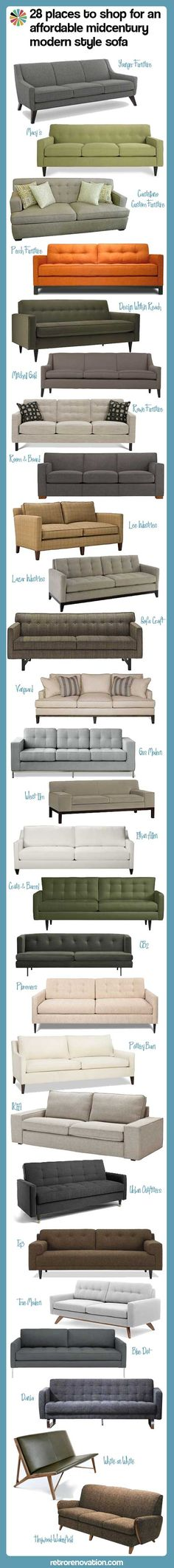 28 places to shop for an affordable midcentury modern style sofa - I LOVE this style!!