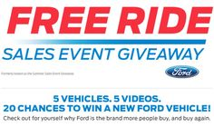 I just entered for a chance to win a new 2015 Ford vehicle!  Cool deal, eh?  http://www.fordeventgiveaway.com/?ref=4058982