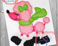 Best poodles applique embroidered images in machine