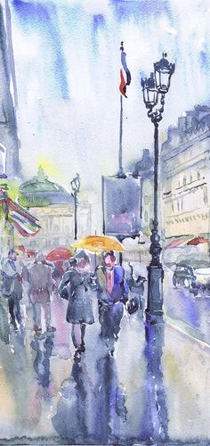 Paris, art watercolor painting, rain in the city, Parisian home decor,  paris street, umbrella,  art print, Illustration, European street