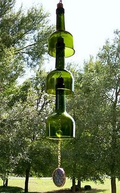 """Wine Bottle Windchimes.  just think of the fun you will have gathering the """"supplies"""""""
