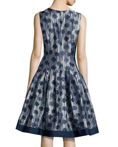 Polka-Dot Drop-Waist Dress, Midnight