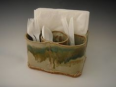 handbuilt pottery silverware + napkin holder (add a carrying handle on the top)