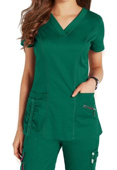 Beyond Scrubs Ellie V-neck Scrub Tops Main Image Scrubs Outfit, Scrubs Uniform, Medical Scrubs, Nurse Scrubs, Green Scrubs, Nursing Accessories, Lab Coats, Medical Uniforms, Nursing Clothes