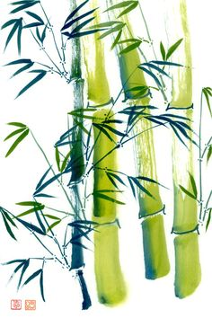 Bamboo two-color(2), print #80072 sumi-e watercolor painting on archival art paper, eco-friendly bamboo, or durable vibrant metal by art4sea on Etsy
