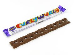 The Marathon Bar is gone but the Cadbury Curly Wurly definitely takes it place. It's about same size as the original, it is 1 by 8 inches of braided caramel covered with milk chocolate. 1970s Candy, Retro Candy, Bonbon Caramel, British Sweets, British Candy, Candy Cigarettes, Cadbury Chocolate, Galaxy Chocolate, Sweets