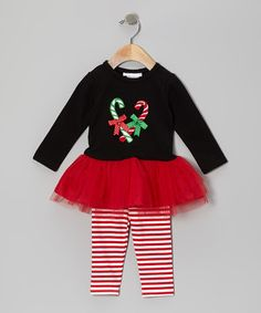 Take a look at this Black & Red Candy Cane Tutu Dress & Leggings - Infant & Toddler by Gerson & Gerson on #zulily today!