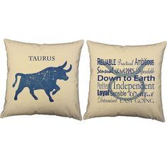 This pair of pillows is a fun, whimsical way to personalize your living space. One pillow features the actual constellation on a backdrop of the night sky beautifully forming the shape of your zodiac