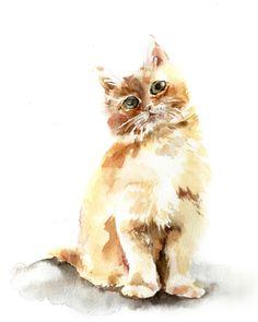 Cat Art Print of Original Watercolor Painting 8x10 Minimalist Art Kitten #Minimalism