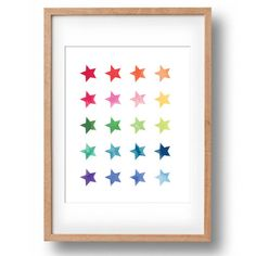 Colourful Rainbow of Watercolour Stars Printable Nursery wall decor: INSTANT DOWNLOAD