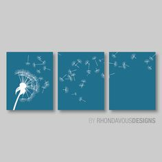 Dandelion in the Wind Print Trio - Jade Blue and White Dandelion. Nursery. Home Decor. Wall Art. Room. Living - You Pick the Size (NS-316)