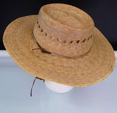 720a5e52158 Tula Hat Unisex Gardener Lattice Palm Hat Hand-Woven Vented Straw Sun Hat  Sz S M  Tula  ClothingShoesAccessories