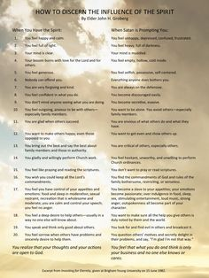 """""""How do you know when the Spirit is prompting you? Here is a short list of some ways to know."""" … Consider """"how we will feel when we have the Spirit of the Lord and how we will feel when we have the spirit of the world or the evil one."""" From Elder John H. Groberg's message http://lds.org/ensign/1986/04/investing-for-eternity; http://speeches.byu.edu/talks/john-h-groberg_investing-eternity"""