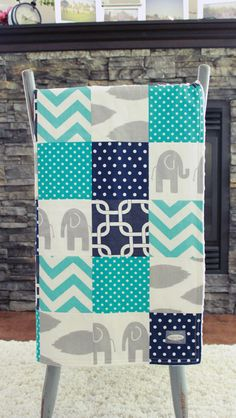 Baby Blanket Modern Baby Quilt  Navy blue Aqua by GiggleSixBaby, $90.00
