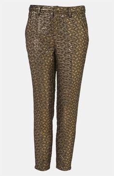 Topshop Metallic Jacquard Crop Cigarette Pants, $40