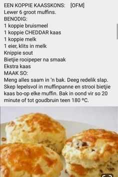 Fun Baking Recipes, Bread Recipes, Snack Recipes, Dessert Recipes, Cooking Recipes, Snacks, South African Recipes, Ethnic Recipes, Baking Muffins