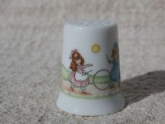 Joan Walsh Anglund Fine Porcelain Thimble JOY 1980 Little Gallery by Hallmark