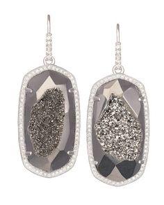 Ellen Drop Earrings in Platinum Drusy - $325
