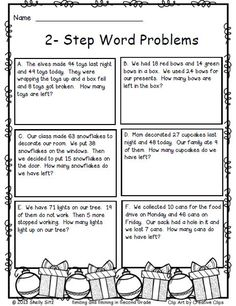 2-step word problems--FREE--Christmas math for 2nd grade