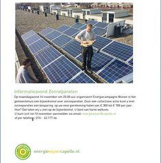 Wij nodigen u graag uit voor de informatieavond zonnepanelen op maandagavond 14 november vanaf 20.00