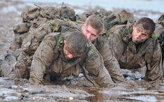 Royal Marines Training - mud run British Royal Marines, British Armed Forces, British Army, Royal Marines Training, Military Training, Military Workout, Military Personnel, Military Weapons, Military Army