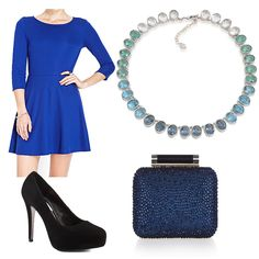 Blue and green crystals look amazing with a royal blue skater dress!