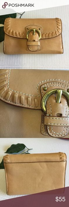 Coach Beautiful Tan Leather Tri Fold Wallet Coach Beautiful Tan Leather Tri Fold Wallet gently used, clean. Amazing detail stitching and weave with nice Coach buckle, super soft leather. Coach Bags Wallets