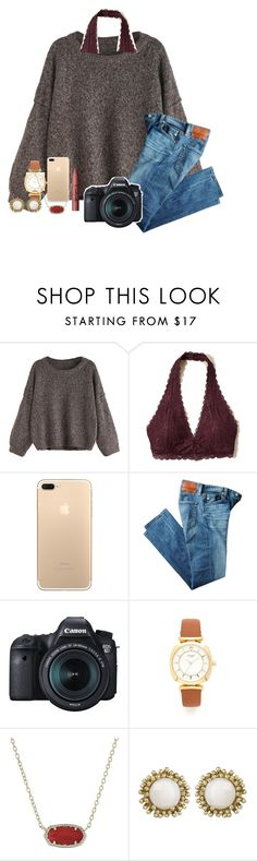 """old draft"" by abby14310 ❤ liked on Polyvore featuring Hollister Co., AG Adriano Goldschmied, Eos, Kate Spade, Kendra Scott and tarte"